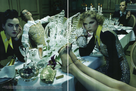 Anne Sophie Monrad, Nasty Karzan and Melodie Dagault by Miles Aldridge for Vogue Italy March 2010