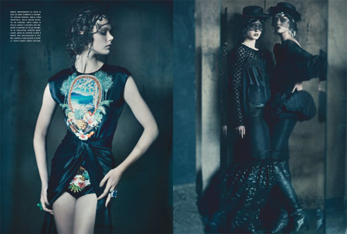 Frida Gustavsson, Jac Jagaciak and Kristina Salimovic by Paolo Roversi for Vogue Italy September 2011