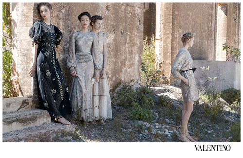 Fei Fei Sun, Clément Chabernaud, Bette Franke, Maud Welzen & Zuzanna Bijoch by Deborah Turbeville for Valentino Ad Campaign Spring/Summer 2012